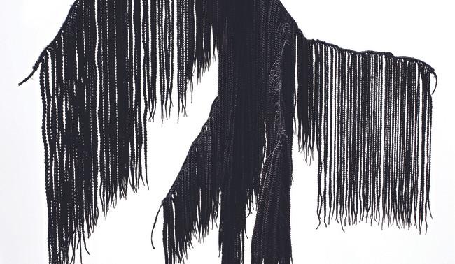 Dimitri Fagbohoun, The roots of…, 2020, cheveux synthétiques, textile tressé, 160 X 80 X 80 cm