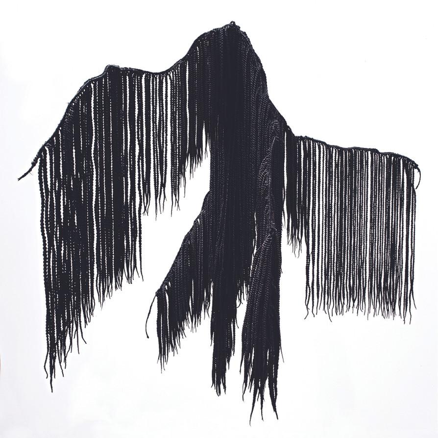 Dimitri Fagbohoun, 2020, The roots of…,cheveux synthétiques, textile tressé, 160 X 80 X 80 cm