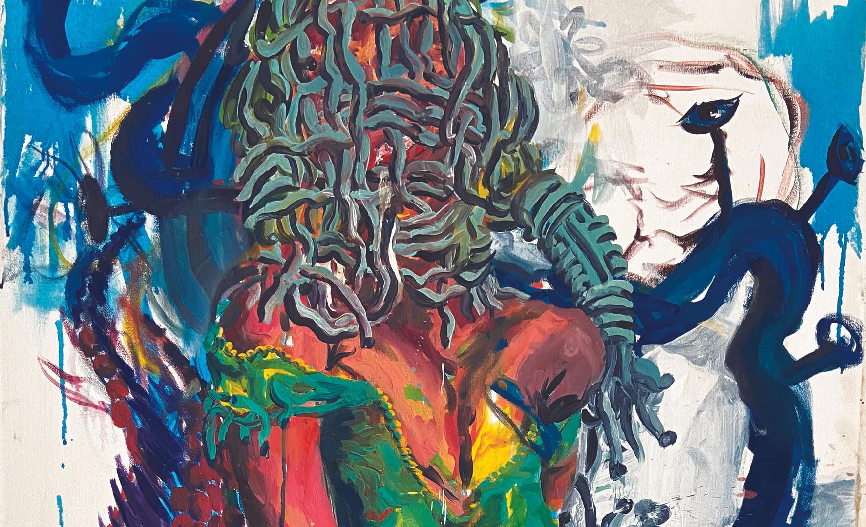 Epheas Maposa, 2020, Lady of Coa, huile sur toile, 130 x 81 cm