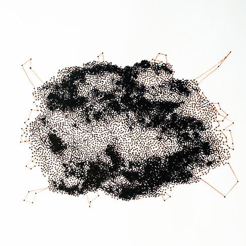 Hélène Jayet, 2020, Cloud 3, série Décade, acrylique, encre, feutre sur papier, 70 x 50 cm