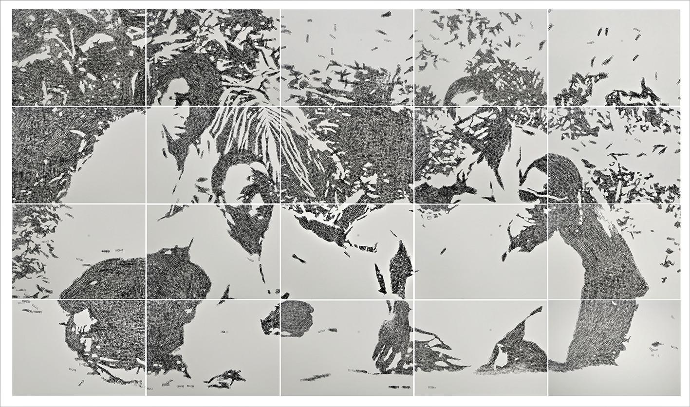 Kelani Abass, 2020, Stamping History, encre, tampon à numéroter manuel sur papier, 108 x 185 cm