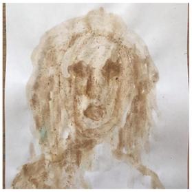 portrait with dirt paint