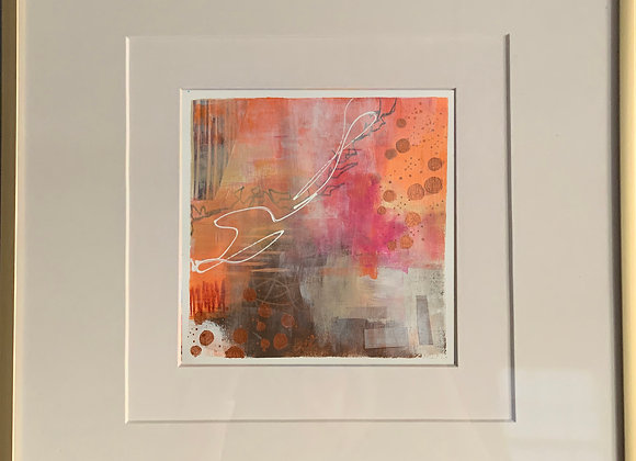 """Peach Set"" Abstract Framed"