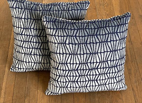 Geometric Cut Velvet Pillow Set