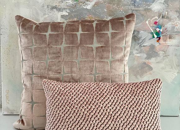 Blush Geometric Velvet Pillow