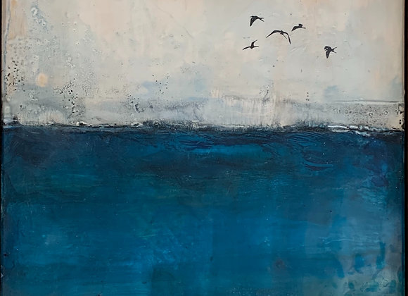 Encaustic Sea 14x14""