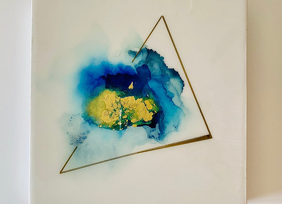 """Blue Resin Triangle 1"" Art"