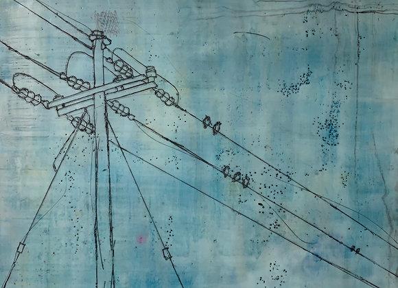 """Blue Birds Encaustic 24x24"""""""