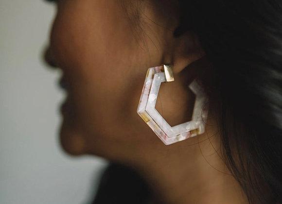 Pink & White Resin Earrings