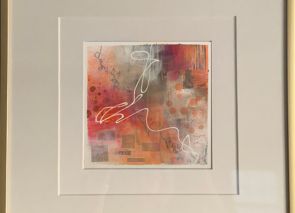"""Peach 2"" Abstract Framed"