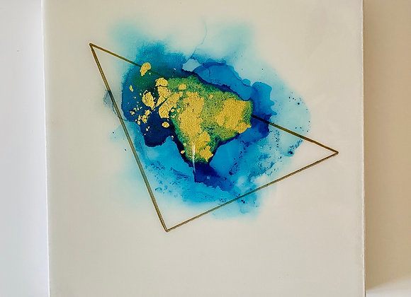"""Blue Resin Triangle 2"" Art"