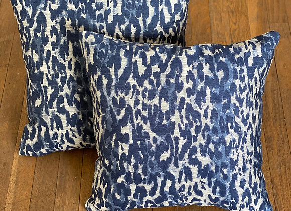 Navy Animal Print Pillow Set
