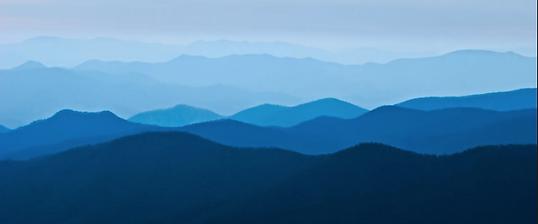 Blue Ridge Mountains, home of Blue Ridge style shaped-note singing