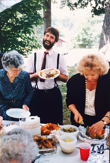Lynn Shaw, dinner on the grounds, Christian Harmony shaped-note singing, Old Folks Day, Morning Star United Methodist Chruch, Canton, NC