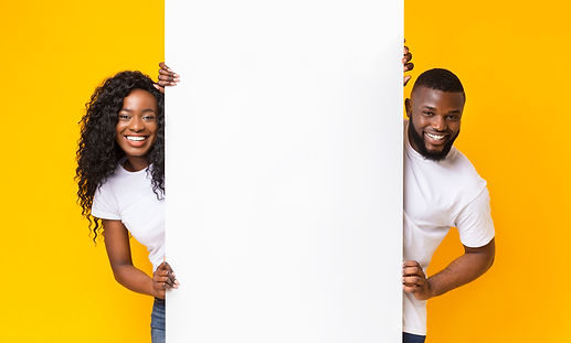 Black Girl And Guy Holding White Adverti