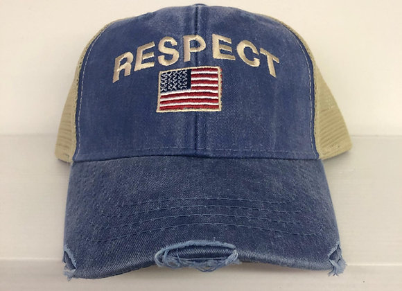 Respect Baseball Cap with American Flag