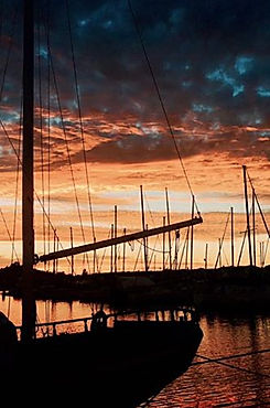 Sunset at a marina in San Francisco Bay