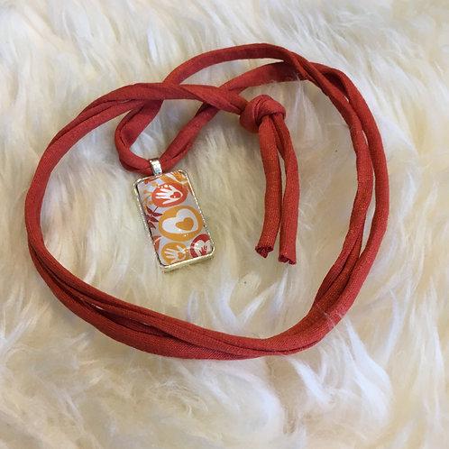 Cabochon-Halskette, eckig, rostrot/silber