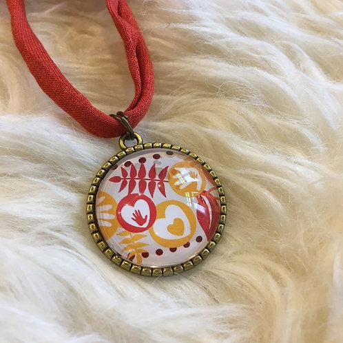 Cabochon Halskette rostrot/antik-Gold