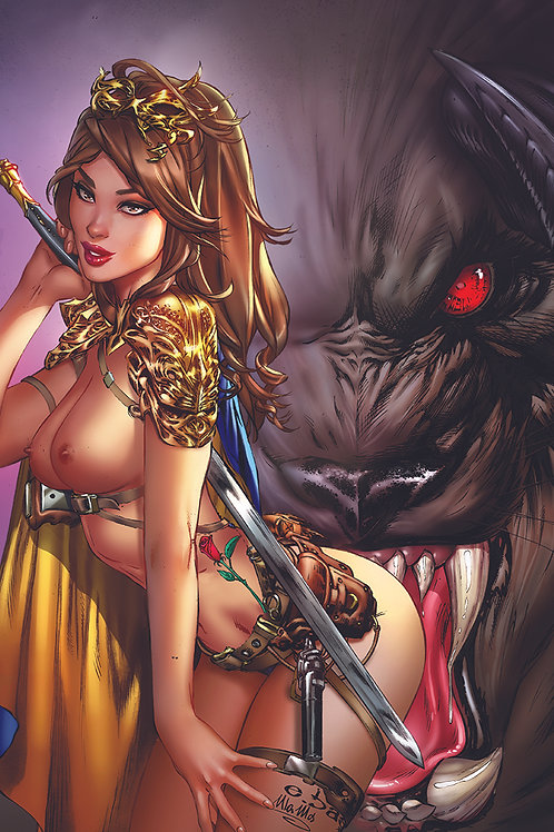 Beauty and the Beast ASS bite TOPLESS (11x17 print)