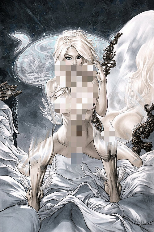 Invisible Woman Pearl Necklace 11X17 full nude PRINT