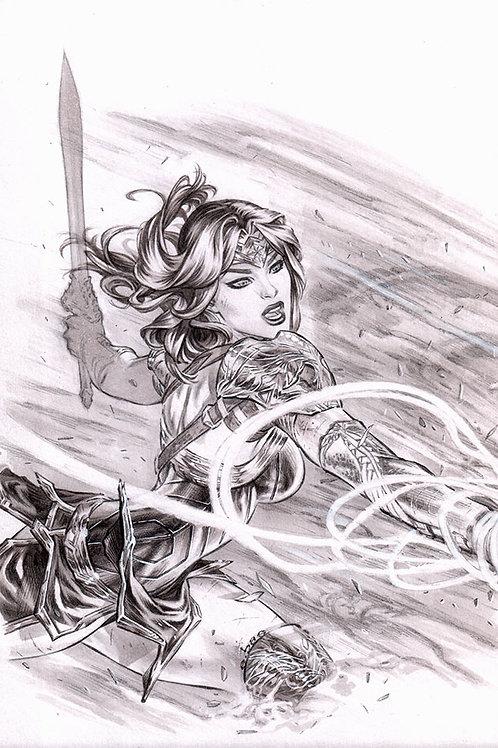 Wonder Woman Lasso lunge (11x17 print)