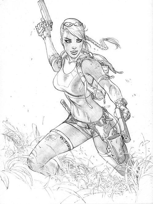 Tomb Raider Cliff climb  (11x17 pencil print)