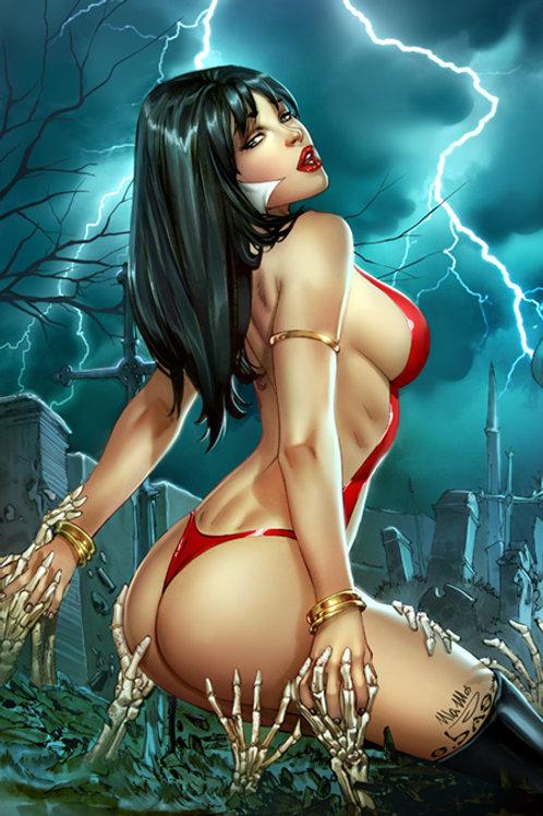 Vampirella GO ASS Graveyard  (11x17 print) color