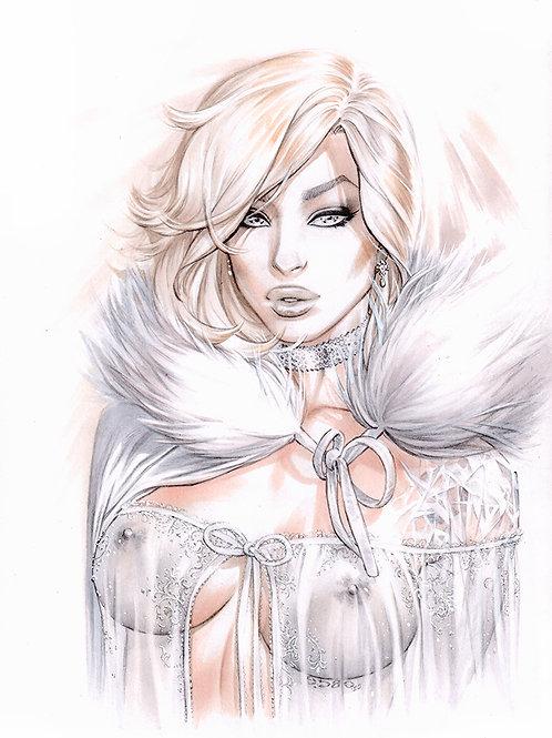 White Queen Sheer Nighty (print)