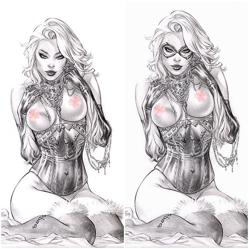 Black Cat Topless Unmasked Hither COMBO (11x17 print)