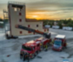 Burn Building and Truck Ladder Sunset.jp