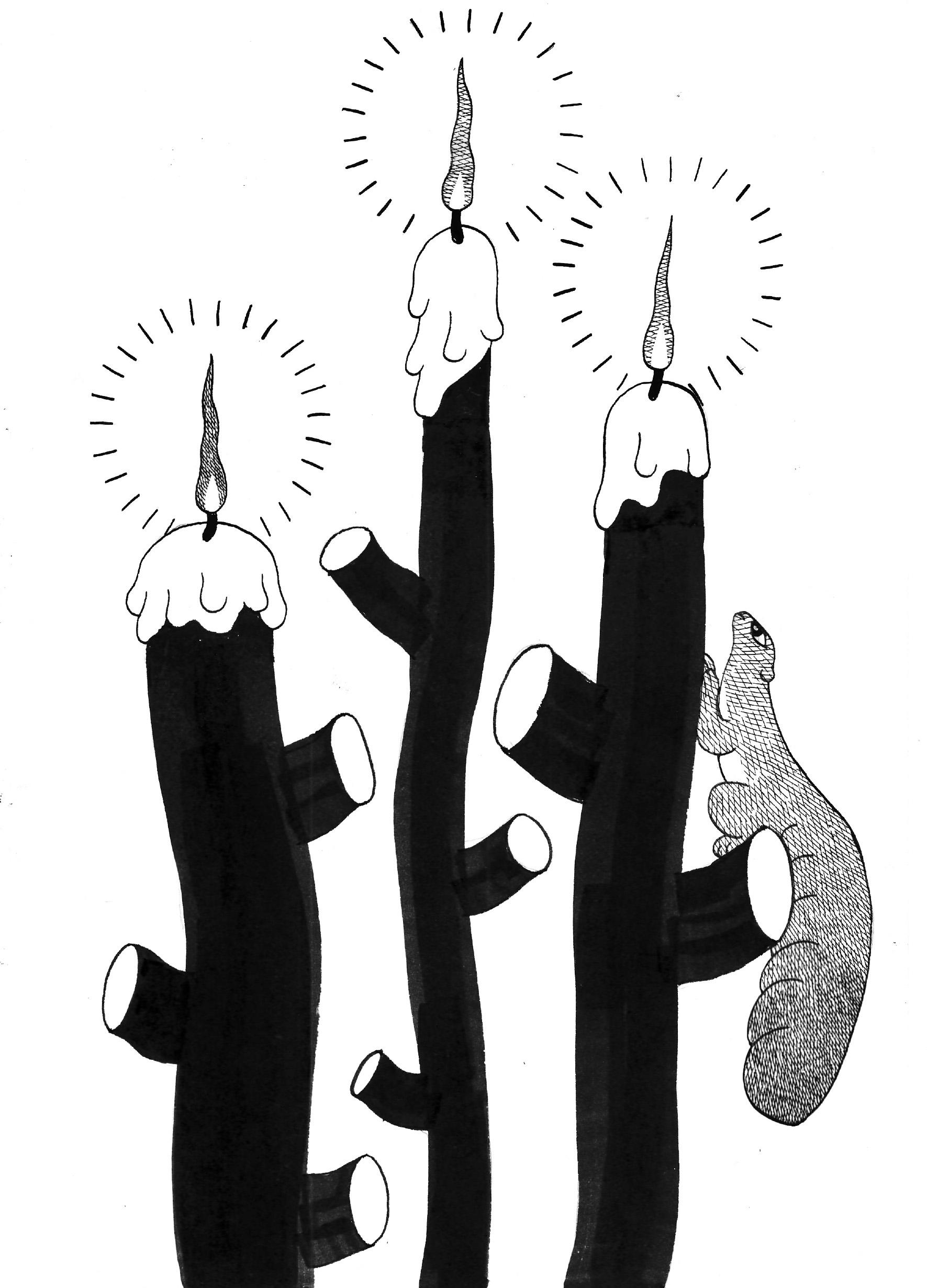 ロウソクを登るリス / Squirrel Crimbing Tree