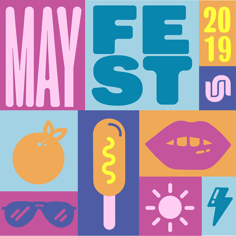 The mural is blocks of different colors in magenta, deep purple, orange, or light blue, that say Mayfest 2019, with the University Union logo, then include some icons like lips, an orange, corn dog, sun, and a lightning bolt