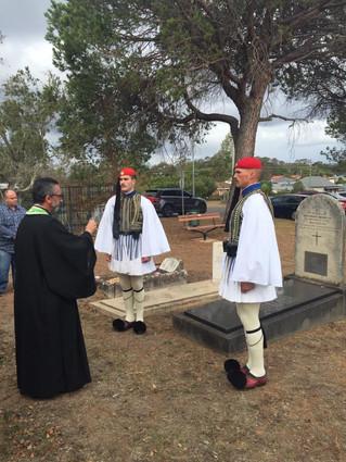 Fr Stavropoulos & Evzones visit Manolis