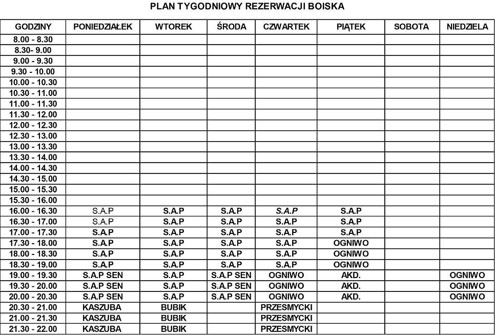 plan tygodniowy rezerwacji boiska