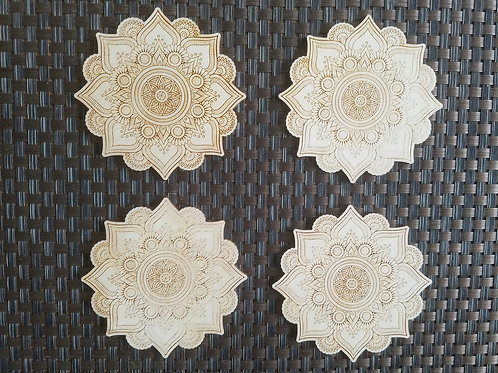 Mandala wooden coasters. Set of 4