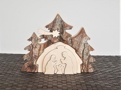 Nativity scene in bark