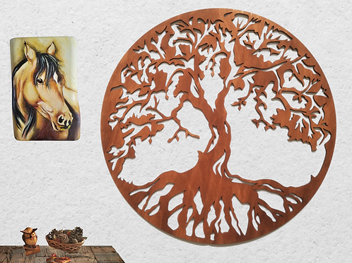 Tree of life wooden wall art, Wooden decoration, Wooden wall panel