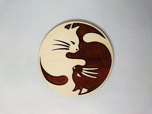 Yin Yang - cats coaster