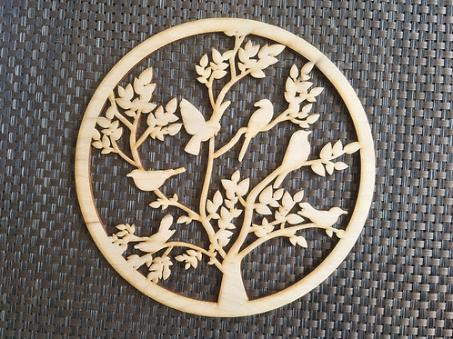 Tree of life with birds Wooden wall hanging
