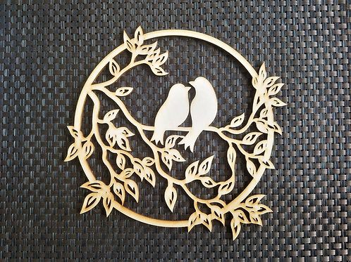 Tree Branch with two birds Wooden Wall Hanging Round Pannel