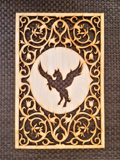 Wooden wall hanging with pegasus