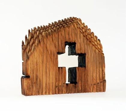Ohne Titel (Kirche) · Platane, teilw. geflammt und geölt · 2011 · H 46 | B 50 | T 13 [cm]