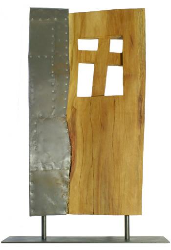 Portal mit Kreuz III · Platane, Stahlblech · 2008 · H 91 | B 52 | T 10 [cm]