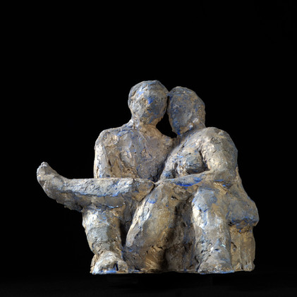 Älteres Paar · Hartgips · 2015 · 22 x 23 x 21 cm