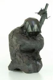 Ahnenfigur II · Pappel, Rupfen, Leder, geschwärzt · 2008 · H 25 | B 14 | T 15 [cm] (in Privatbesitz)