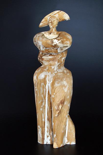 Ahnenfigur VII · Eiche/Gips · 2009 · H 67 | B 18 | T 19  [cm]