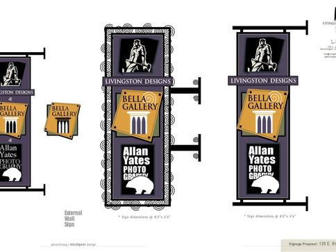 Livingston Designs, Allan Yates Photography & Bella Gallery Signage_(various design options)