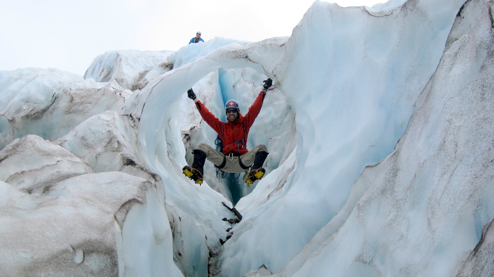 Andre, monkeying around on the lower Coleman Glacier