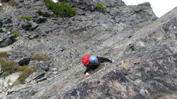 Clare on the exposed traverse